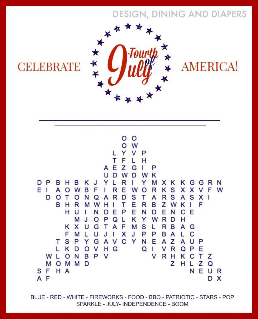 FREE 4th of July Word Search Printables