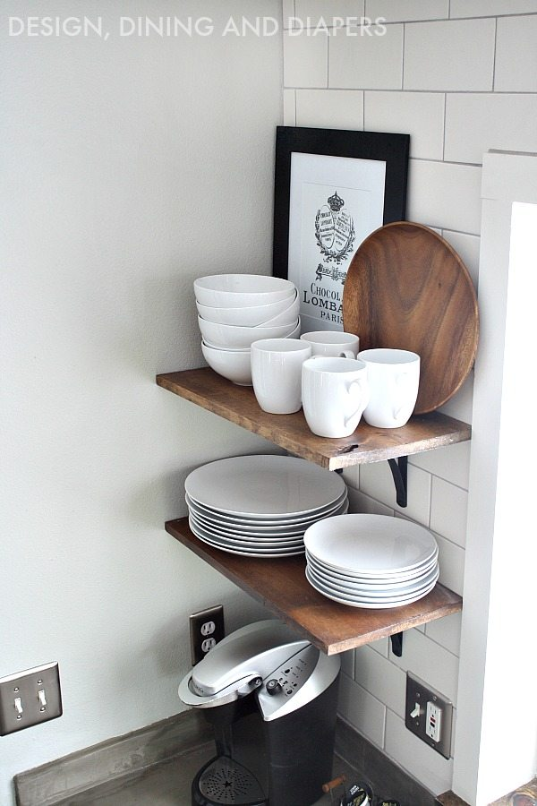 Open Kitchen Shelves in a white kitchen