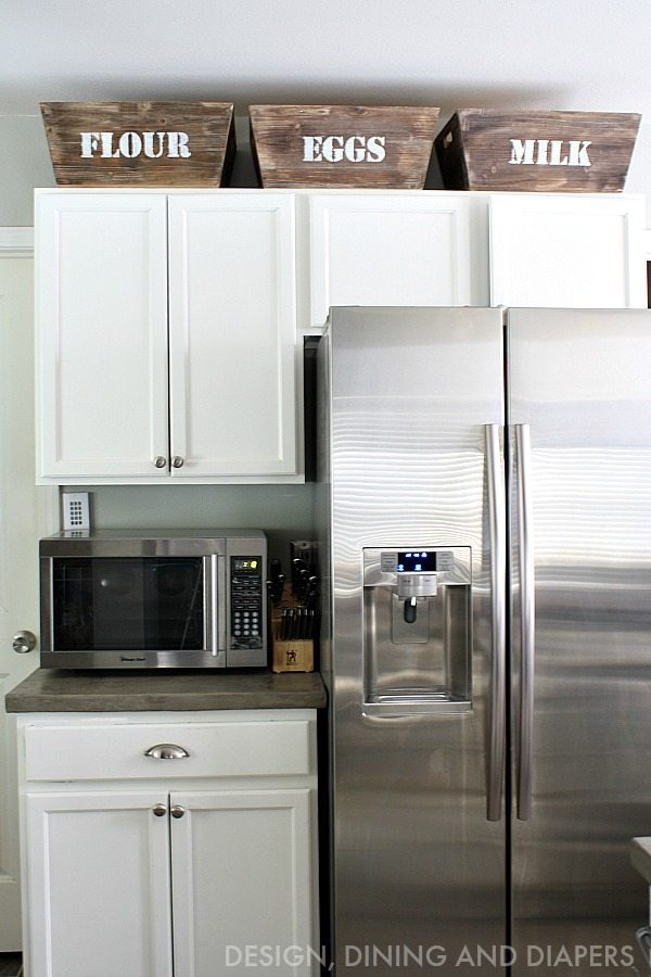 Small kitchen remodel with a modern farmhouse style Design ideas for above kitchen cabinets