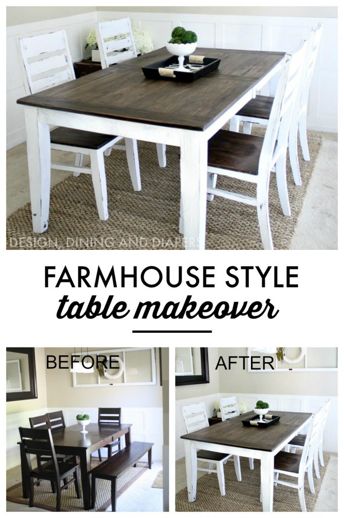 farmhouse table makeover: Learn how to easily transform your table into a farmhouse style table with chalk paint and stain!