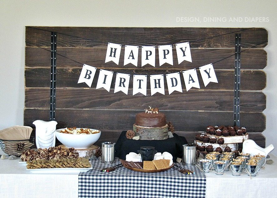 Modern Camping Themed Birthday Party by designdininganddiapers.com