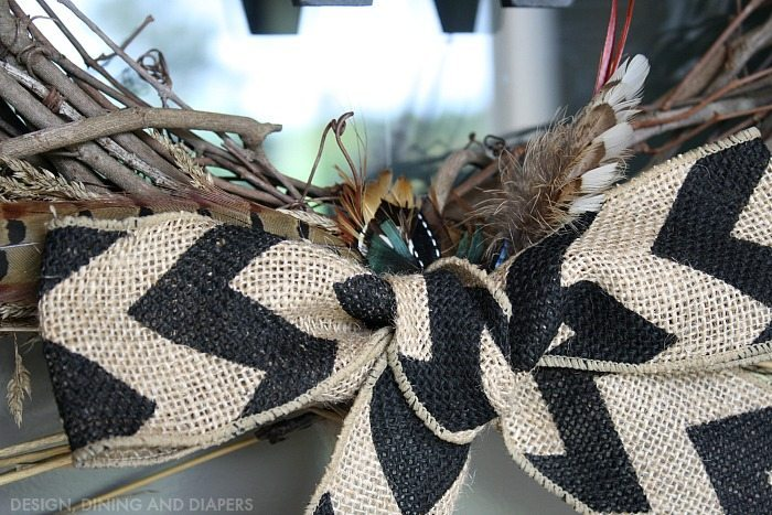 Burlap and Pheasant Feather Wreath