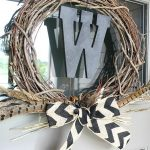 Neutral Fall Wreath with Chevron Burlap Bow