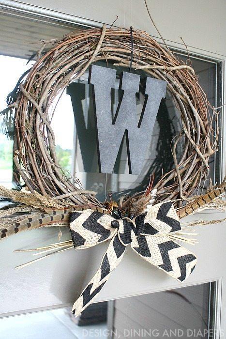 Neutral Fall Wreath with Chevron Burlap Bow