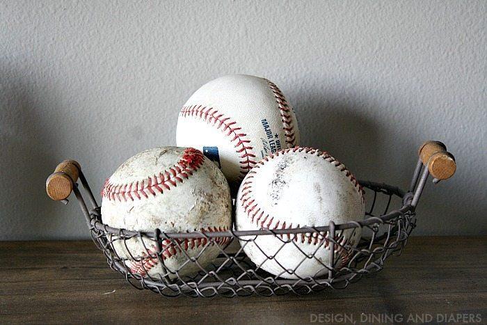 Old Baseballs in Basket