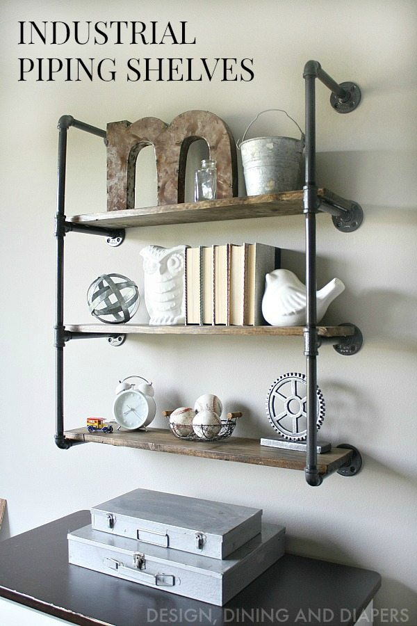 Learn how to make these farmhouse style shelves using galvanized pipes and wood! Click the get the full tutorial for these industrial piping shelves.