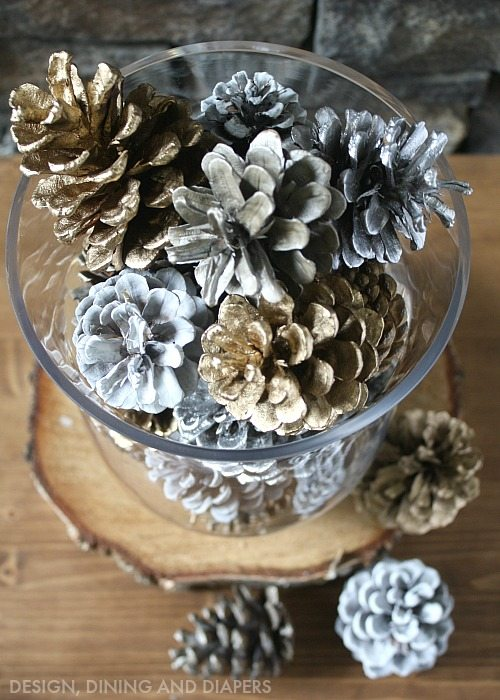 Spray Painted Pinecone Centerpiece Tatertots And Jello