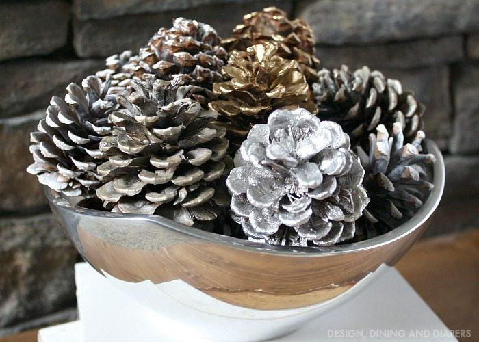 Pine Cone Bowl Spray Painted Pine Cone