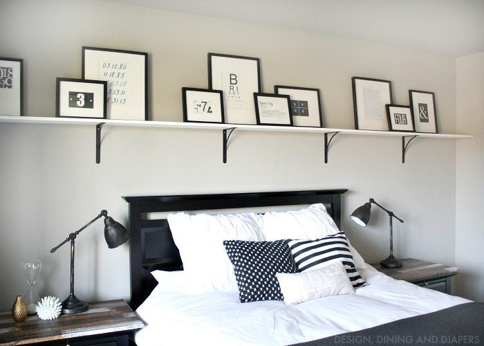 Black and White Typography Above Bed