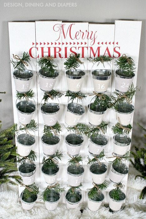 DIY Rustic Advent Calendar with fresh greenery