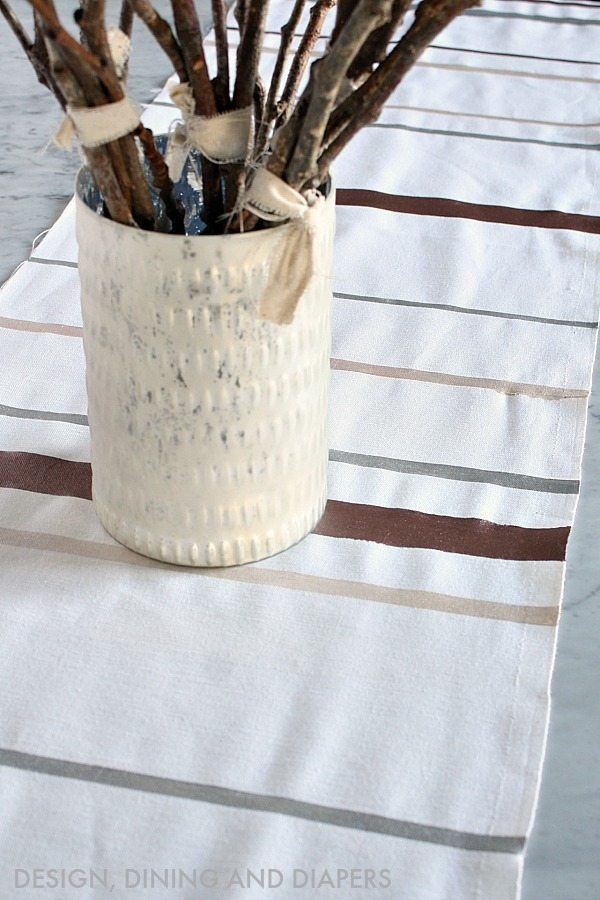 DIY Table Runner - White Duck Cloth with Metallic Paint