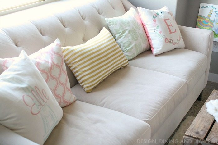 Girly Reading Nook with tons of fun personalized pillows
