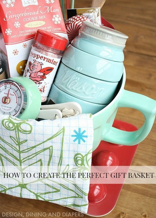 Great tips and tricks on how to create the perfect gift basket! Love this baking gift basket idea.
