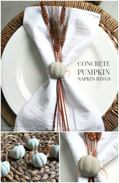 Industrial Modern Concrete and Copper Pumpkin Napkin Rings