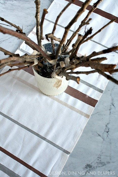 Neutral Table Decor and Table Runner