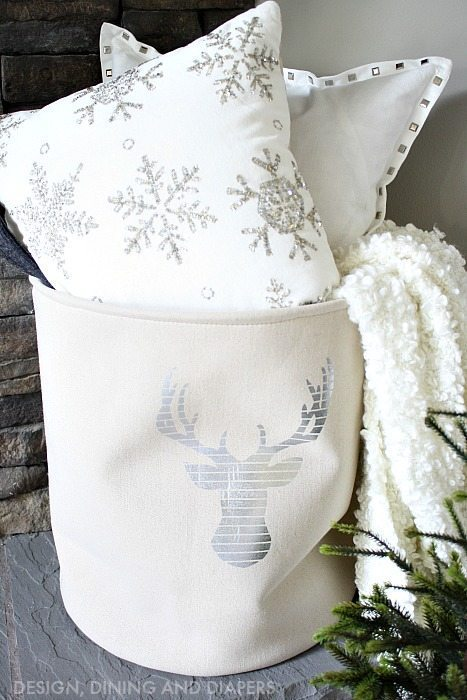 Winter White Mantel with Canvas Bag and White Pillows