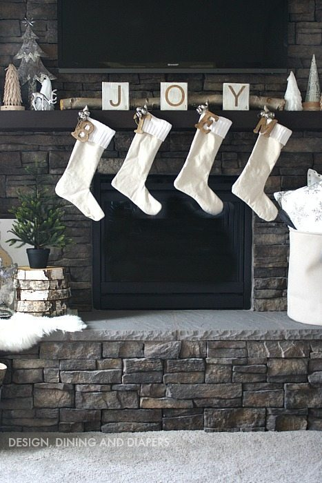 Winter White Mantel with Drop Cloth Stockings