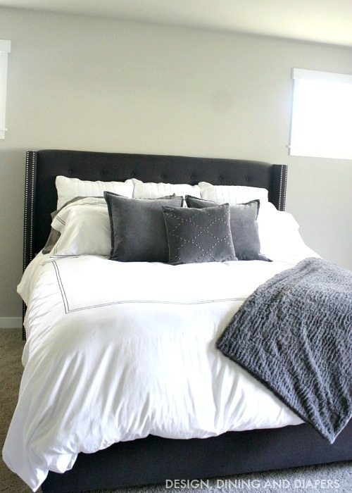 Charcoal Gray Nailhead Headboard from @wayfair