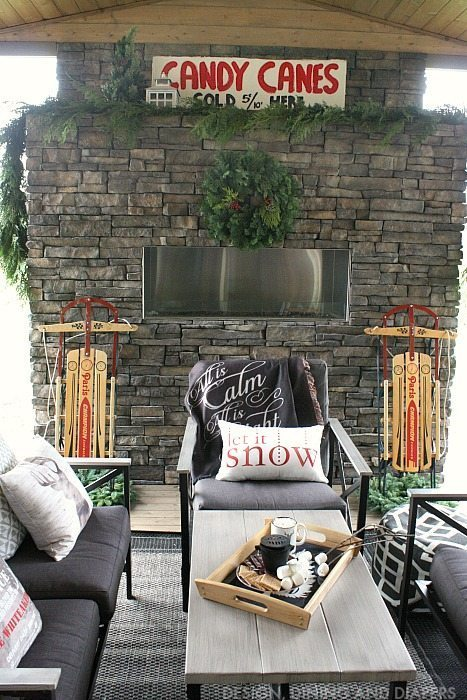 Cozy outdoor living space dressed up for the holidays