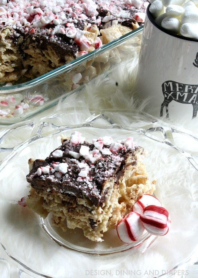 Easy Rice Chex Treats topped with chocolate and candy canes! These are also Gluten-free too!