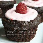 Gluten Free Chocolate Muffins With Raspberry Cream Cheese Topping
