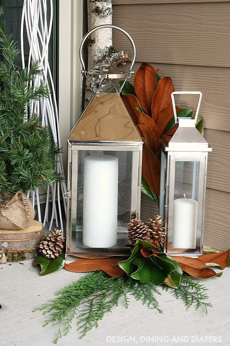 Holiday Porch - Lanterns and greenery