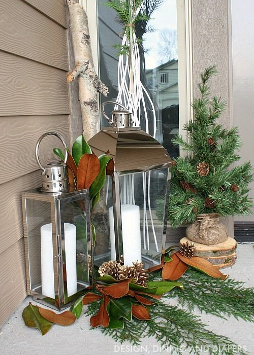 Holiday Porch with lanterns and nature elements