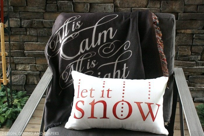 Let It Snow Pillow and Chalkboard Blanket