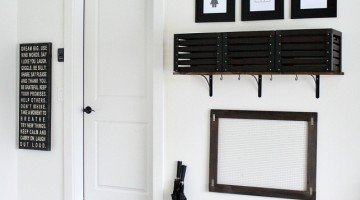 DIY Garage Drop Station - Perfect place for backpacks and coats!