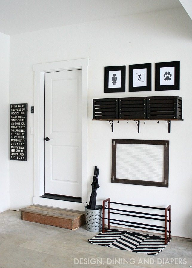 Diy simple garage mudroom taryn whiteaker for Garage mudroom designs