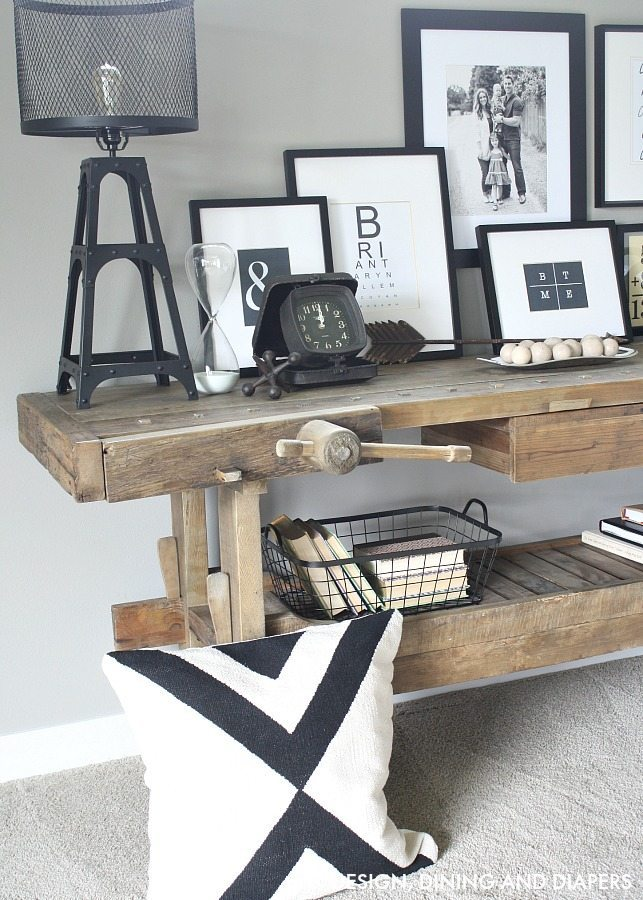 Carpenter's Bench Console Table - Love this!
