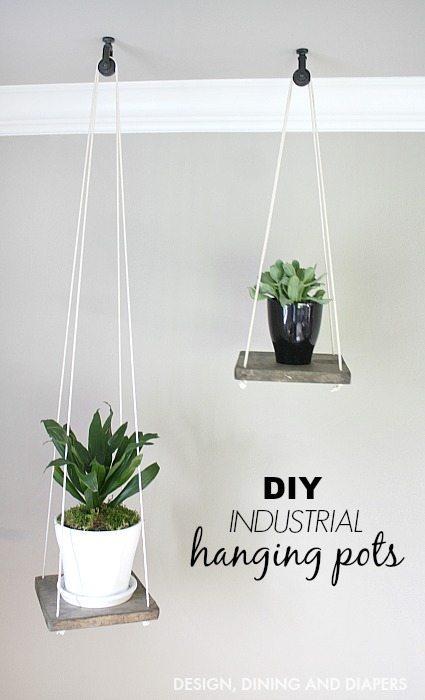 DIY Industrial Hanging Pots