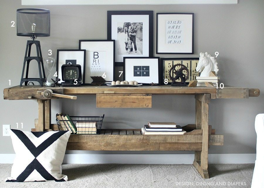 Modern rustic console display - Sources