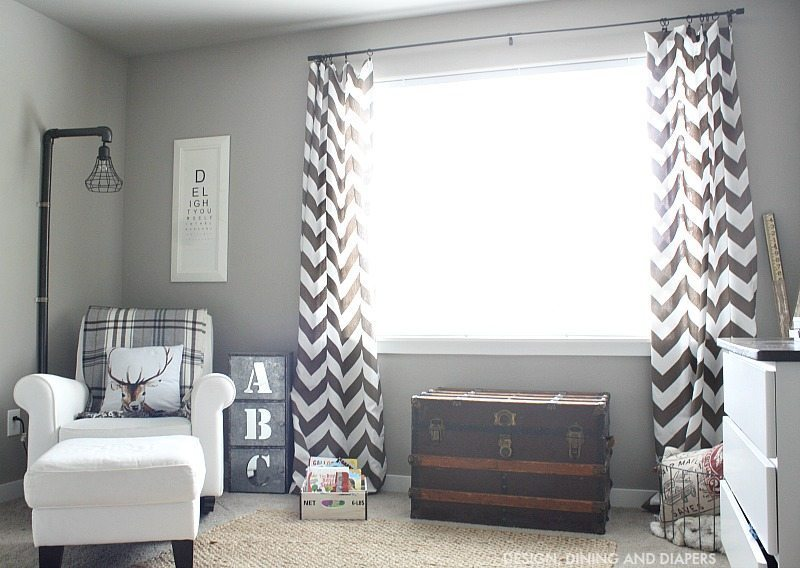 Rustic Boys Room with chevron curtains