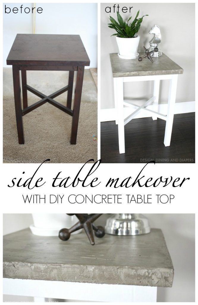 Side Table Makeover Using Chalky Paint And Diy Concrete Table Top. Get All  The Details