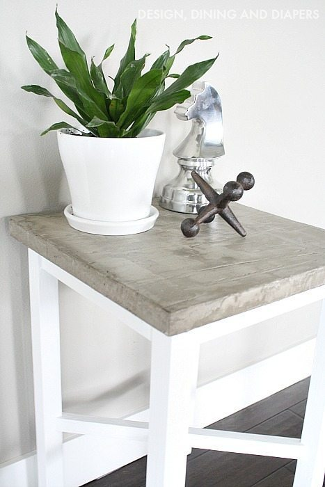 Side Table Makeover using paint and concrete overlay