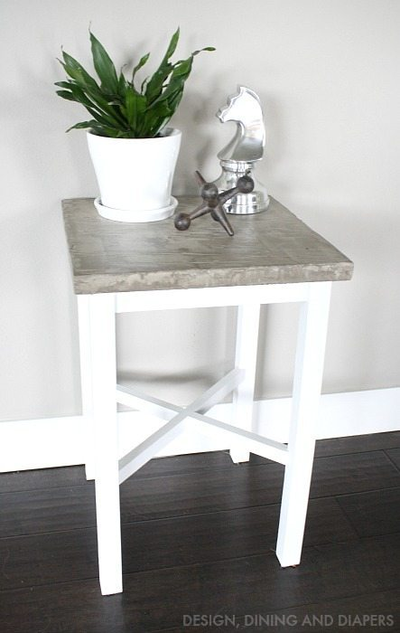 Side Table Makeover with DIY Concrete Table Top - Click for the tutorial