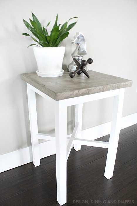 concrete side table makeover