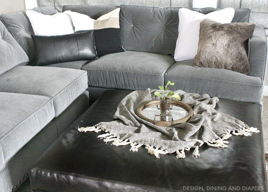 gray sectional with rustic touches