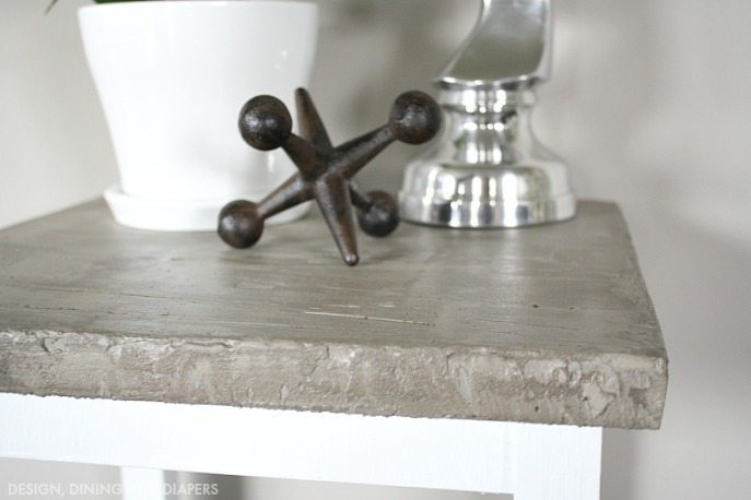 side table makeover using concrete