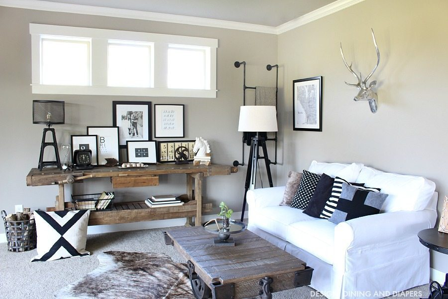 Black And White Family Room