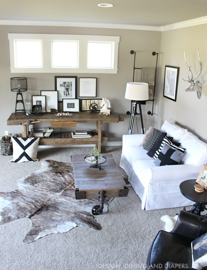 Black and White Rustic Family Room