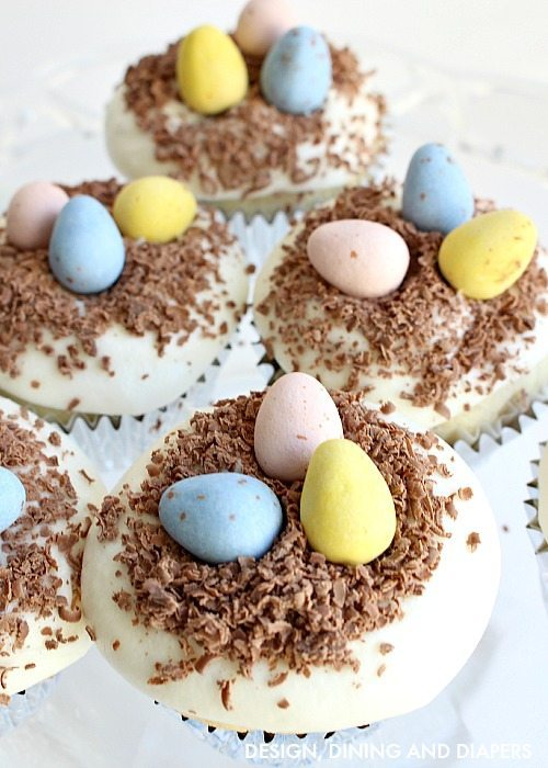 Easter Cupcakes using Hershey's chocolate eggs