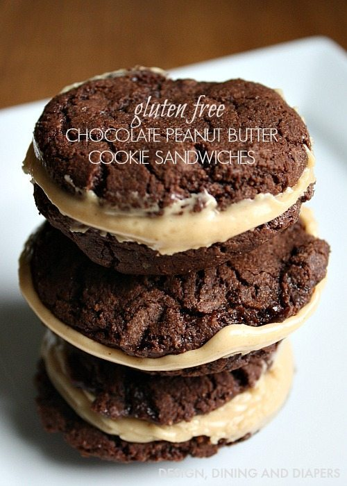 Gluten Free Chocolate Peanut Butter Cookie Sandwiches