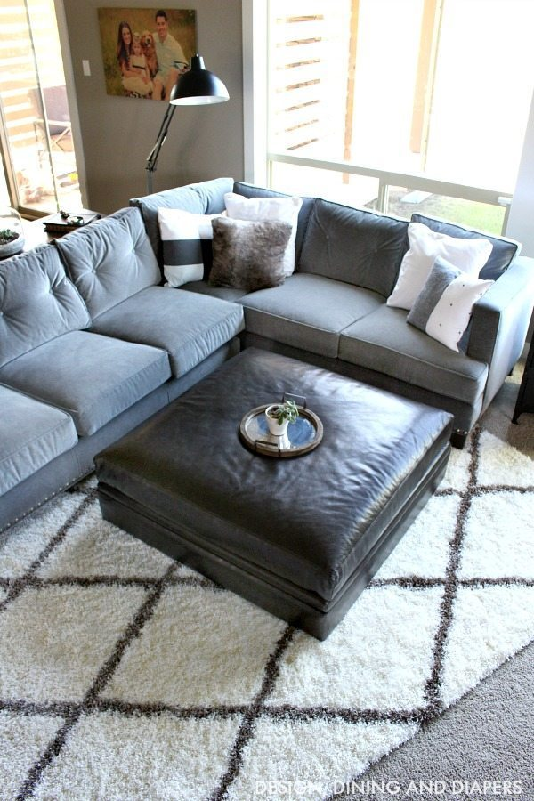 Gray Sectional with Architecture Lamp