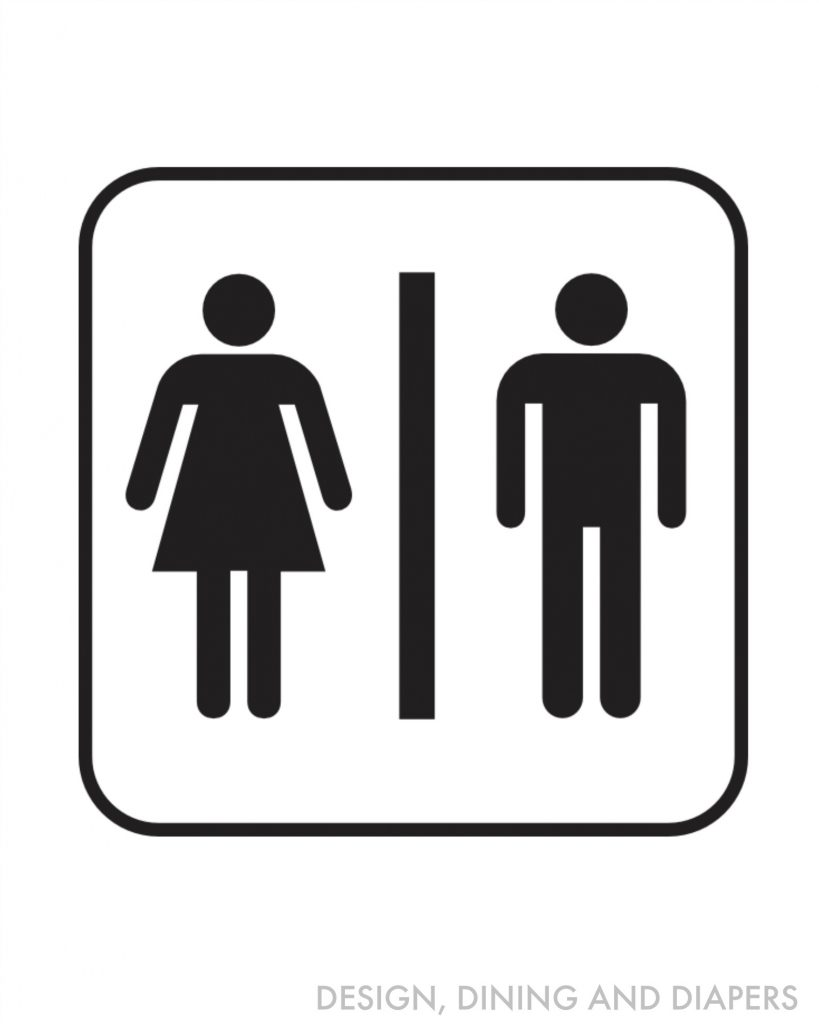 Restroom symbol black and white