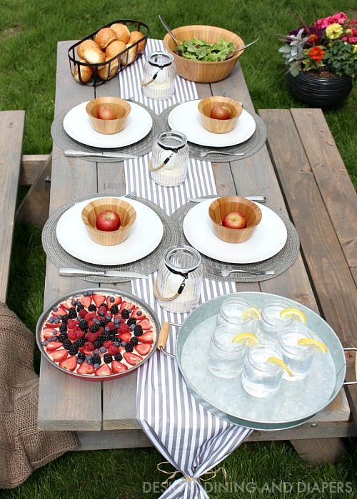 Summer Entertaining Ideas - Stain picnic table