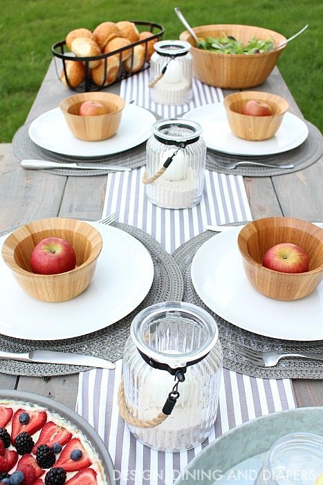 gray and white summer tablescape