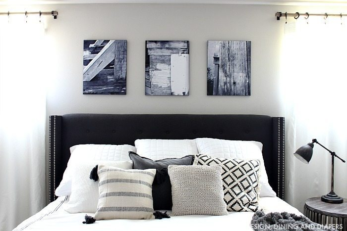 Black and White Prints Above Bed