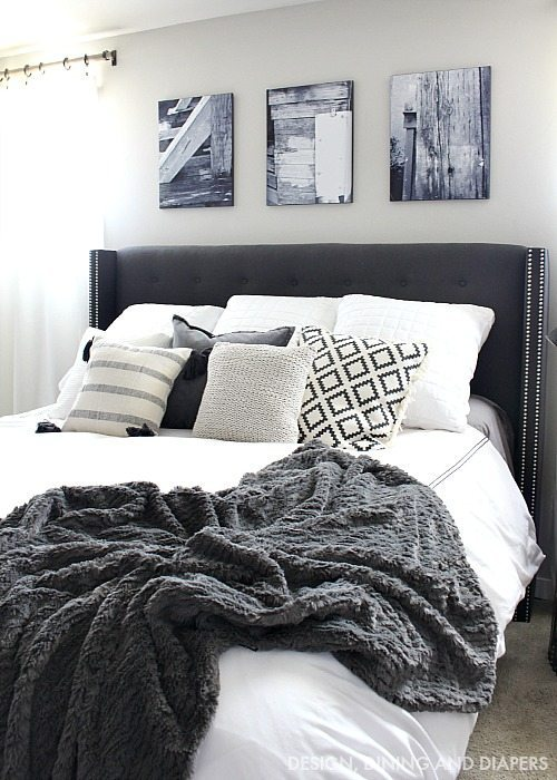 Charcoal Gray Tufted Headboard with black and white accents